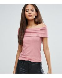 e342a23d426 Asos Top With Off Shoulder V Neck In Rib in Pink - Lyst