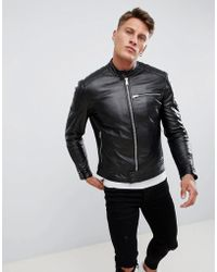 Replay - Leather Biker Jacket In Black - Lyst