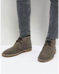 Farah - Lozza Suede Desert Boots In Gray - Lyst