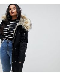 ASOS - Asos Design Curve Parka With Detachable Faux Fur Liner - Lyst