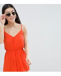 ASOS - Asos Design Petite Playsuit In Crinkle With Button Front - Lyst