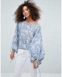 Traffic People - Floral Top With Tie Detail - Lyst