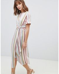 Warehouse - Knot Front Midi Dress In Pastel Stripes - Lyst