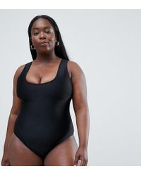 Wolf & Whistle - Curve Scoop Neck Swimsuit In Black - Lyst