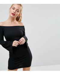 Daisy Street - Ripped Bardot Dress With Bell Sleeve - Lyst