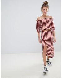 Pull&Bear - Stripe Midi Skirt With Matching Top In Multi - Lyst