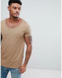 ASOS - T-shirt With Deep Scoop In Beige - Lyst