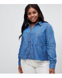3d425ab0d9 ASOS - Asos Design Curve Denim Shirt With Ruffle Hem In Midwash Blue - Lyst