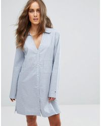 Tommy Hilfiger - Cotton Iconic Long Sleeve Woven Nightdress - Lyst