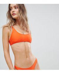 South Beach - Mix & Match Exclusive Crop Bikini Top In Neon Orange - Lyst
