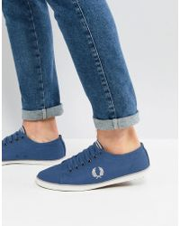 Fred Perry - Kingston Twill Plimsolls In Blue - Lyst