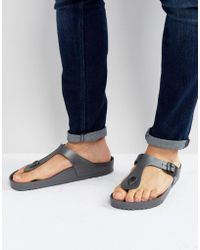 Birkenstock - Gizeh Eva Metallic Sandals In Anthracite - Lyst