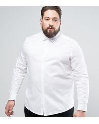 ASOS | Plus Skinny Twill Shirt In White | Lyst