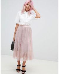 Amy Lynn - Plearted Tulle Midi Skirt - Lyst