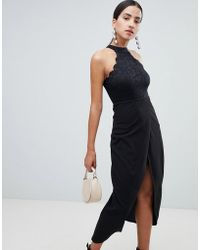 AX Paris - Scalloped Sqaure Neck Maxi Dress With Wrap Front - Lyst