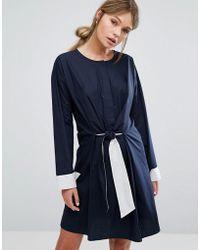 Warehouse - Tie-front Dress - Lyst