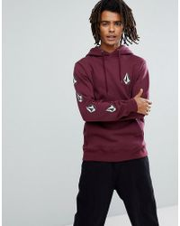 Volcom - Hoodie With Logo Sleeve Print - Lyst