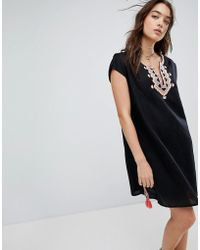 Seafolly - Embroidered Linen Blend Beach Cover Up - Lyst