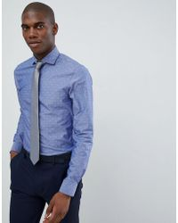 Michael Kors - Slim Fit Smart Shirt In Blue Fil Coupe - Lyst