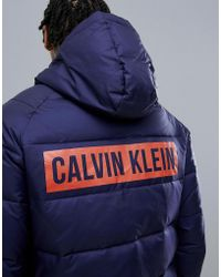 Calvin Klein - Hooded Logo Puffer Jacket - Lyst