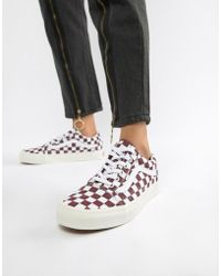 Vans - Burgundy Checkerboard Old Skool Trainers - Lyst
