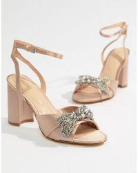 ALDO - Embellished Blush Heeled Sandals - Lyst