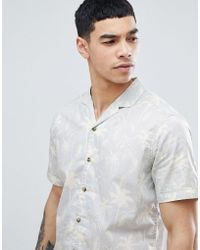 Esprit - Regular Fit Shirt With Revere Collar In Palm Print - Lyst