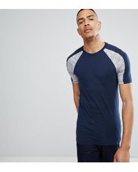 ASOS - Tall Muscle T-shirt With Interest Fabric Shoulder Panels In Navy - Lyst