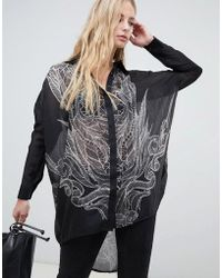 Religion - Long Sleeve High Low Loose Fitted Shirt With Skull Back - Lyst