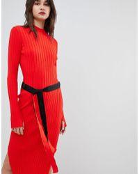 HUGO - Ribbed Knit Dress With Logo Belt - Lyst