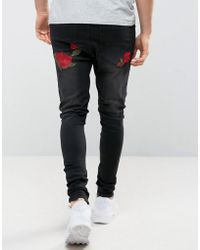 SIKSILK - Super Skinny Jeans With Rose Embroidery - Lyst