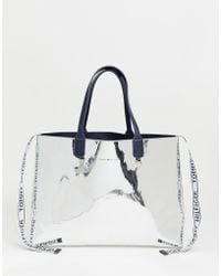 Tommy Hilfiger - Metallic Tote Bag With Detachable Ladies' Wallet & Logo Tape - Lyst