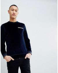 Ted Baker - Velour Sweat In Navy - Lyst