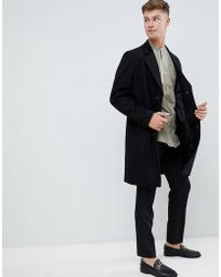French Connection - Premium Wool Blend Overcoat With Velvet Collar - Lyst