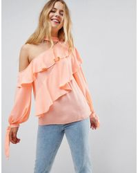 ASOS - Asos Ruffle Blouse With Exposed Shoulder & Neck Band - Lyst