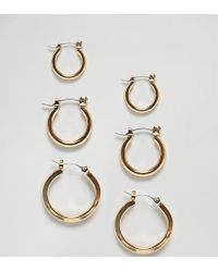 Glamorous - Multipack Gold Hoop Earrings - Lyst