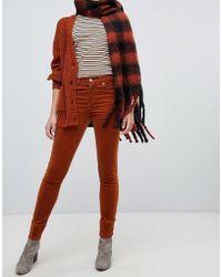 Monki - Skinny Cord Pants In Rust - Lyst