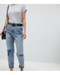 ASOS - Asos Design Petite Recycled Ritson Rigid Mom Jeans In Divinity Rich Mid Blue Wash With Rip & Repair Detail - Lyst