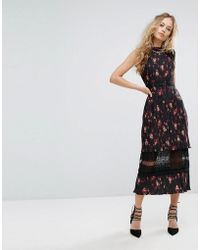 Foxiedox - Pleated Floral Midi Dress With Lace Insert - Lyst