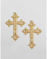 Rock N Rose - Rock N Rose Gabrielle Baroque Cross Earrings - Lyst