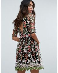 Club L - Floral Embroided All Over Skater Dress - Lyst