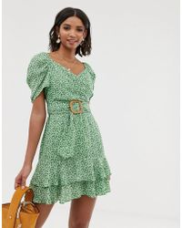 14f26ceca0 ASOS - Wrap Double Layer Mini Dress In Ditsy Floral Print With Belt - Lyst