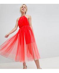ASOS - Asos Design Tall Premium Halter Tulle Godet Midi Dress - Lyst