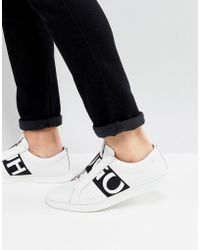 HUGO - Reverse Logo Trainers In White - Lyst