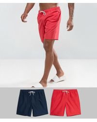 ASOS - Swim Shorts 2 Pack In Red And Navy In Mid Length Save - Lyst