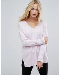 French Connection - Hari Ribbed Sleeve V Neck Sweater - Lyst