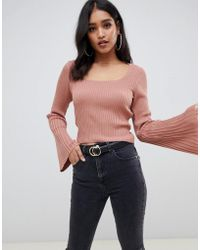 ASOS - Square Neck Jumper With Flared Sleeve - Lyst