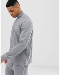 Polo Ralph Lauren Sweat-shirt à col cheminée zippé avec coutures contrastantes et logo joueur de polo - Gris - Noir