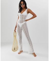 0b960e1a61 River Island Bardot Beach Jumpsuit With Frill Detail In White in ...
