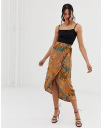 152f2d5d0 Other Stories - Curved Hem Midi Wrap Skirt In Tropical Leaf Print - Lyst